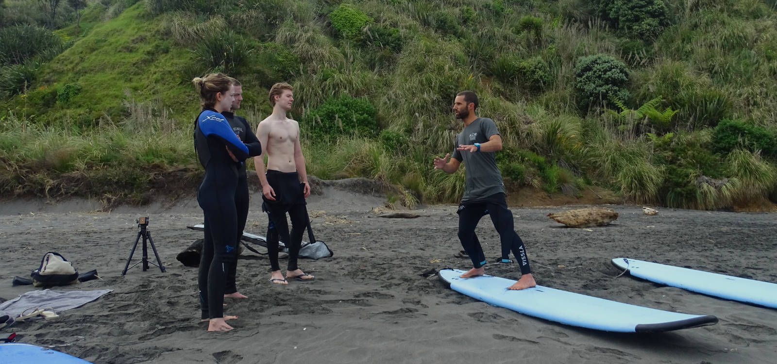 A learn to surf course in Raglan, New Zealand.