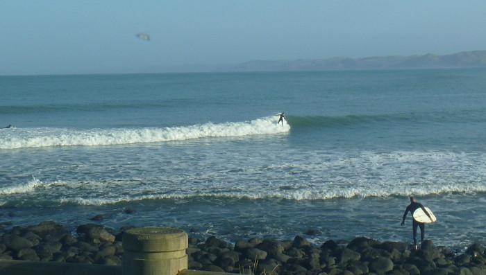 Surfing Manu Bay, Raglan.