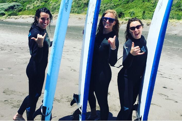 Learn to surf at Ngarunui Beach Raglan.