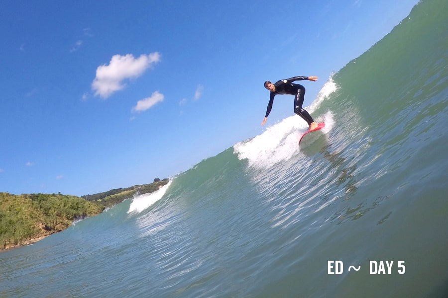 Ed on the 5 day surf course in Raglan.